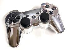 [PS3] Bezdrôtový Ovládač Sony Dualshock - lesklý strieborný (custom) (estetická vada)