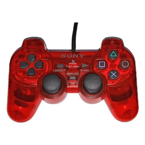 [PS2] Drôtový Ovládač Sony Dualshock - červený priehľadný