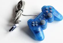 [PS1] Drôtový Ovládač Sony Dualshock - modrý priehľadný