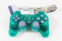 [PS1] Drôtový Ovládač Sony Dualshock - smaragdový priehľadný