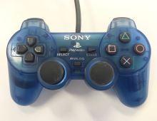 [PS1] Drôtový Ovládač Sony Dualshock - priehľadný modrý (estetická vada)